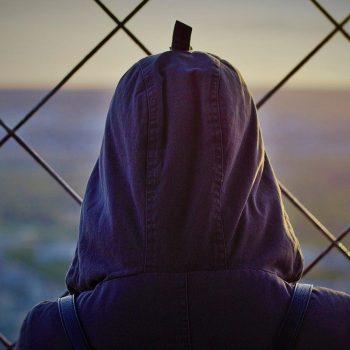 Am Zaun stehend